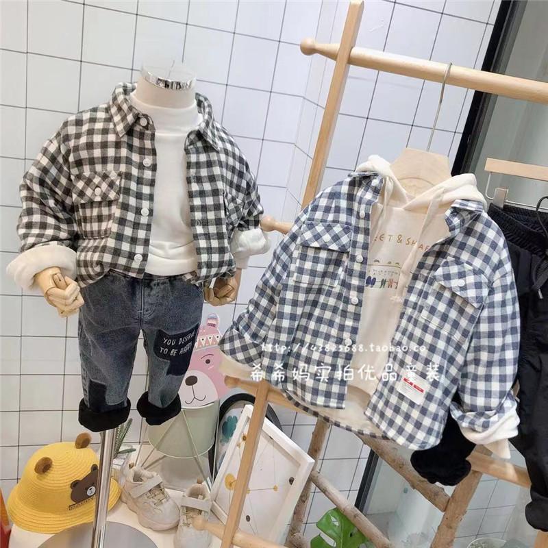 韩国儿童2020冬装新款棉也男童加绒小方格衬衫外套洋气百搭衬衣