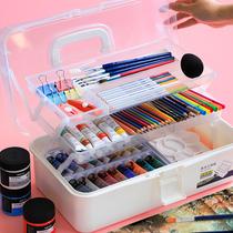 得力画画工具箱国画美术用多功能小学生收纳盒大号画箱美甲手提式