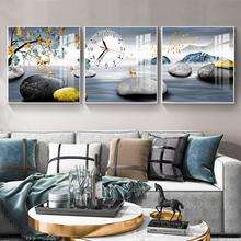 客厅装饰画三联无框画挂钟卧室沙发背景墙壁画水晶画玻璃挂画钟表