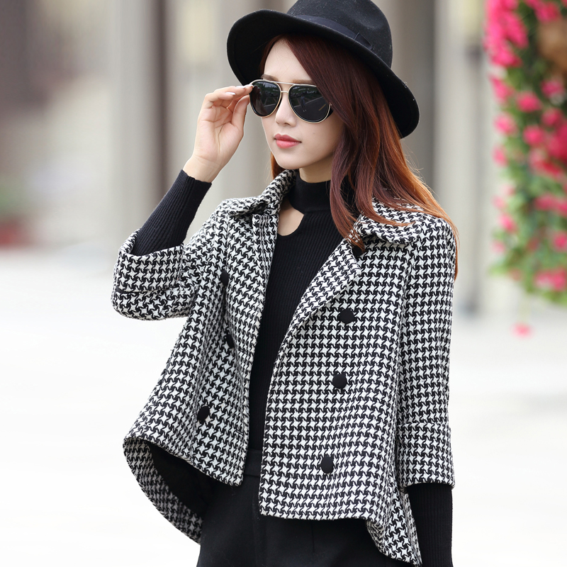 Spring thousand bird check woolen coat womens short coat cape coat small seven point sleeve jacket loose