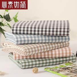 良品水洗棉格子全棉床单单件 纯棉新疆棉单人双人无印简约床品