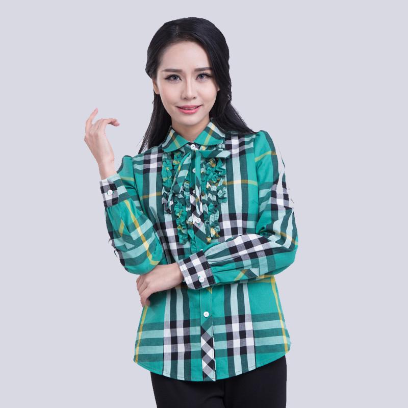 文禾格子衬衫女韩版荷叶边系带灯笼袖磨毛纯棉长袖衬衣学院风显瘦