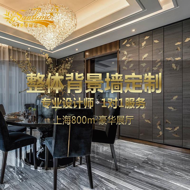 圣蒂娅诺新中式真丝刺绣硬包背景墙手绘定制卧室客厅沙发背景壁画