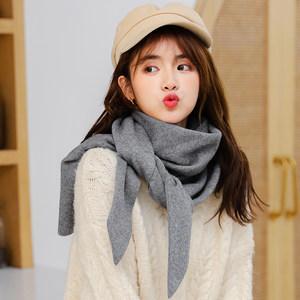 韩版针织毛线灰色三角大披肩纯色护颈椎围脖女秋冬黑色围巾厚披风