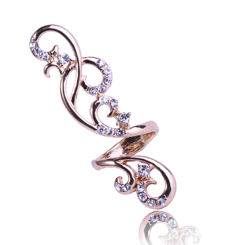 European and American personality fashion temperament full diamond hollow out set ring flower rattan Rhinestone adjustable ring