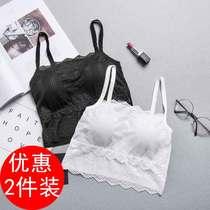 夏季黑色小吊带背心女内搭抹胸式内衣蕾丝细肩带防走光带胸垫裹胸