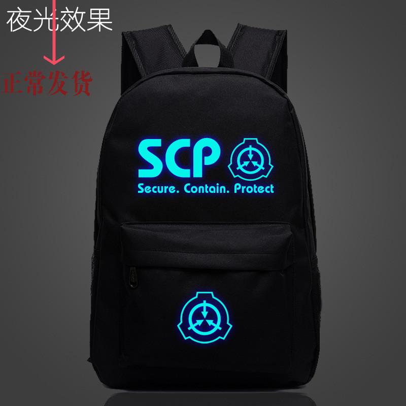 Luminous letter SCP foundation schoolbag light cloth back street bag