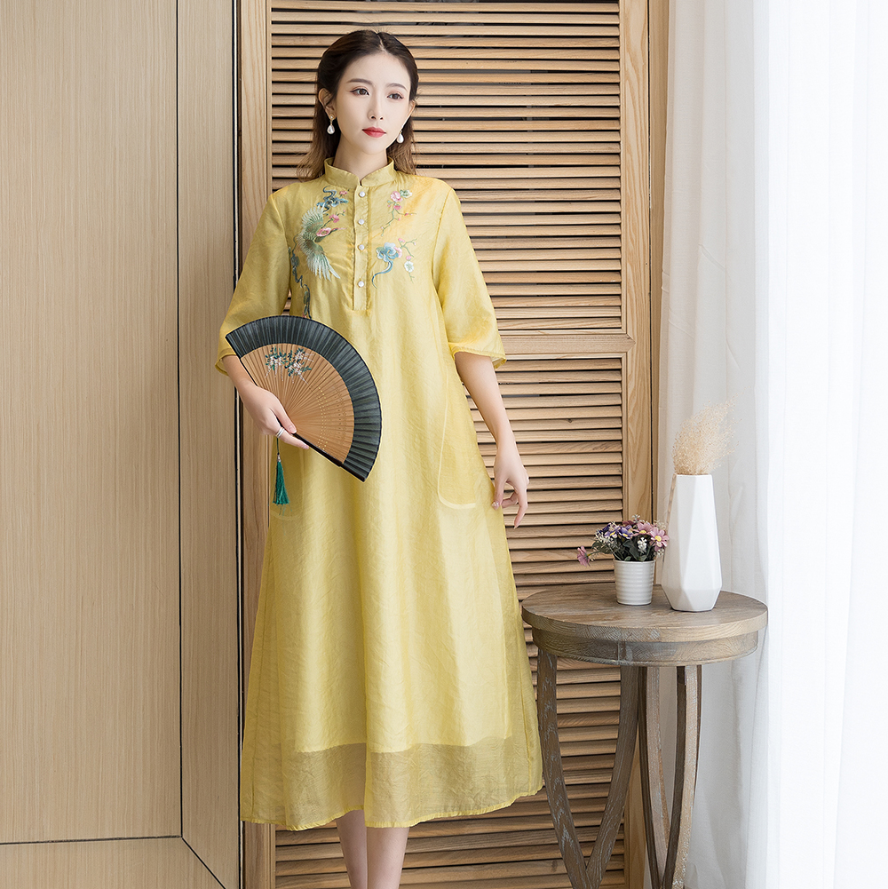 9271实拍2021春季新款禅意文艺茶服女装复古宽松民国风绣花连衣裙
