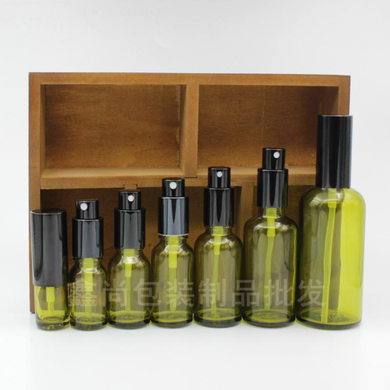 橄榄绿精油瓶喷雾按压瓶防晒水爽肤水护肤品补水细雾玻璃瓶黑铝盖