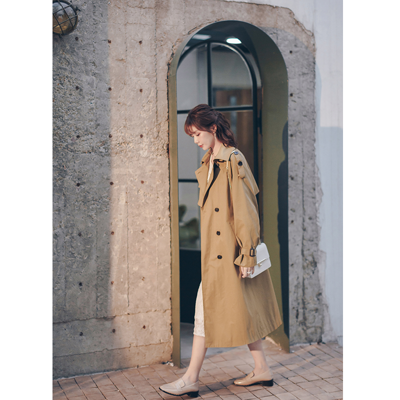 宿本风衣女中长款英伦风复古经典翻领大衣卡其色精品外套女小个子
