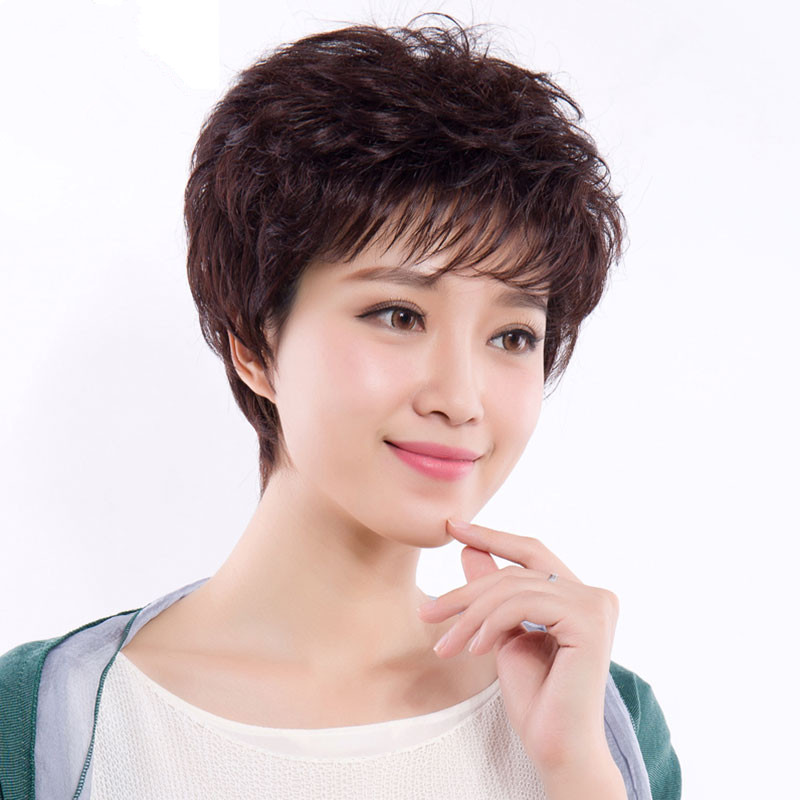 Real hair wig female short hair hairstyle mother short curly hair natural wig cover middle-aged and elderly wig head cover human hair