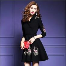 包邮 2017新品女装V领七分袖修身系带重工绣花针织刺绣连衣裙