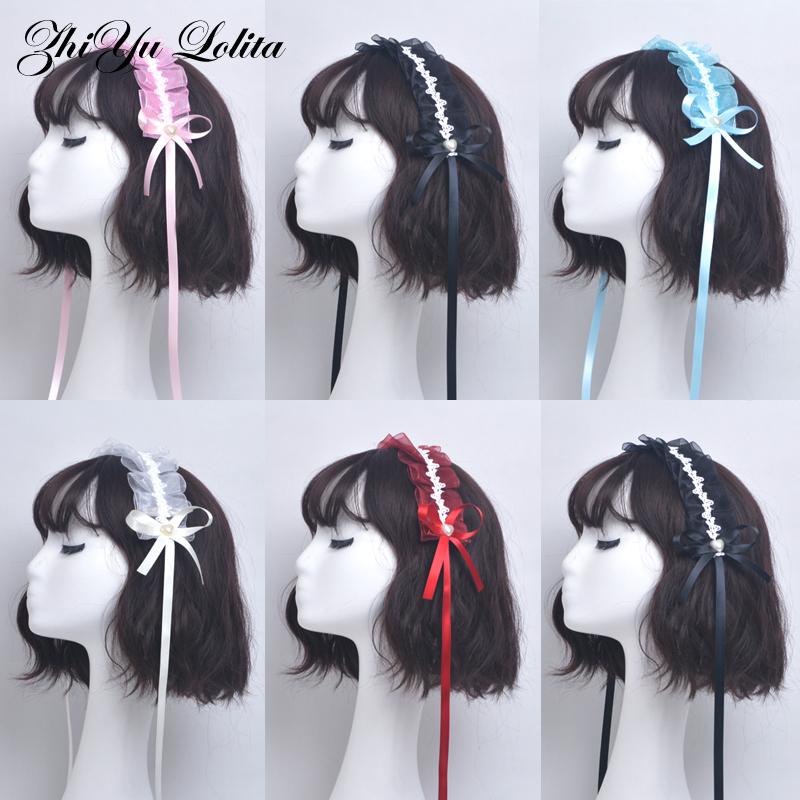 Lolita hair band Lolita hair band anime cute maid headdress white handmade lace wine red KC black
