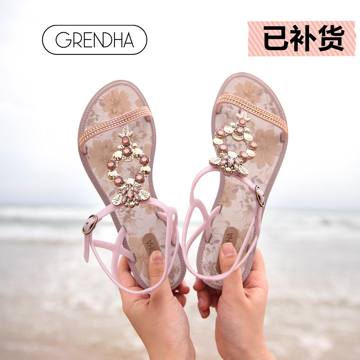 GRENDHA巴西春夏新花钻系列平跟度假休闲仙女风夹趾凉拖鞋女印花