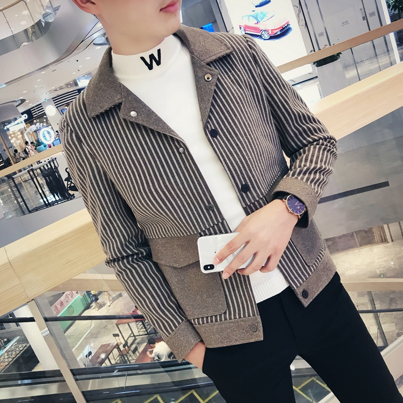 2020 new spring and autumn woolen coat mens short style Korean fashion casual youth versatile jacket and woolen coat