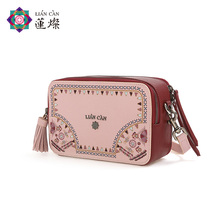 Lotus Cann Camera Bag Girls Fall and Winter 2019 Slant Bag Fan Embroidery Bag Single Shoulder Box Bag Fashion Bag Girls Bag