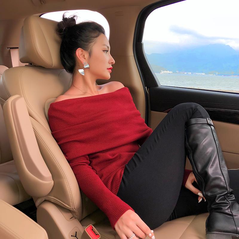 毛衣女一字肩长袖衫红色厚大翻领打底显瘦上衣一字领露肩毛针织衫