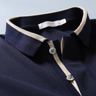 夏季优雅绅士 定纺PIMA棉珠地面料 商务男士翻领短袖T恤男 DAT746