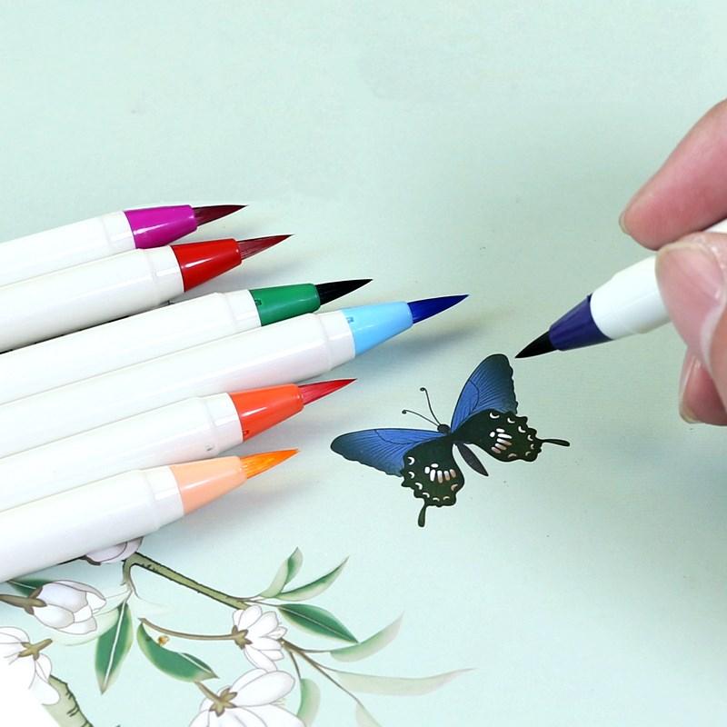 长书新毛笔彩色钢笔式毛笔软笔狼毫兼毫书法笔便携式可加墨水水彩