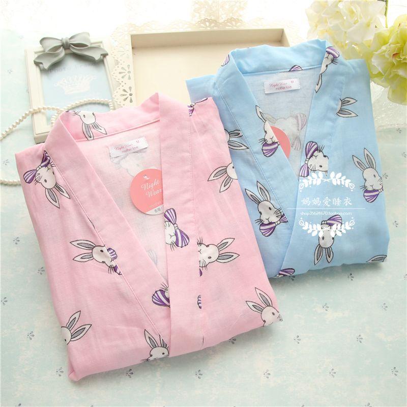 日系和风樱花睡衣和服睡衣甚平女款夏季薄款双层纱布纯棉短袖长裤