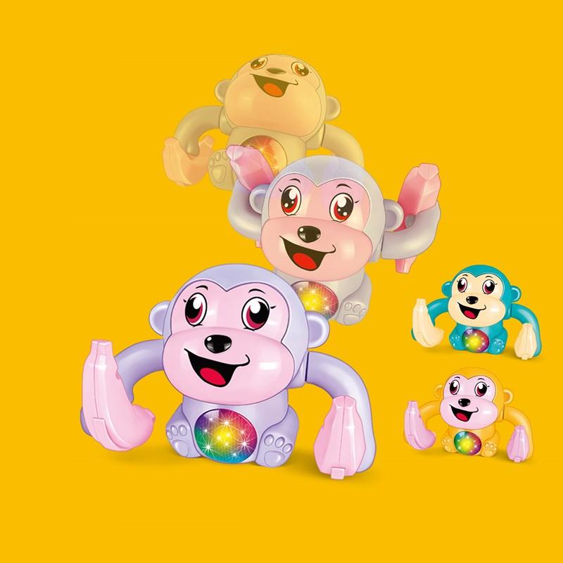 电动声控翻跟头猴子会走路翻斗猴灯光音乐婴幼宝宝玩具