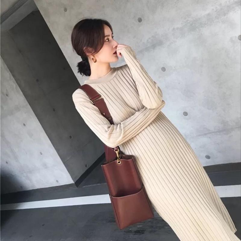 秋冬修身中长款羊绒衫长裙超长款显瘦显高气质针织打底连衣裙毛衣限时抢购