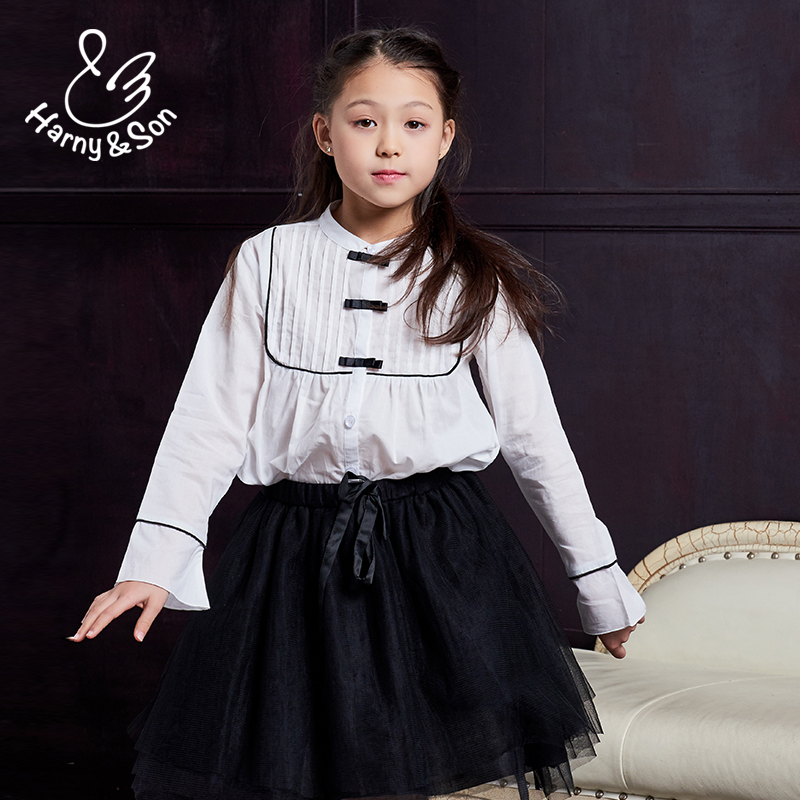 Hanishan girls autumn white college casual shirt pure cotton stand collar long sleeve thin shirt