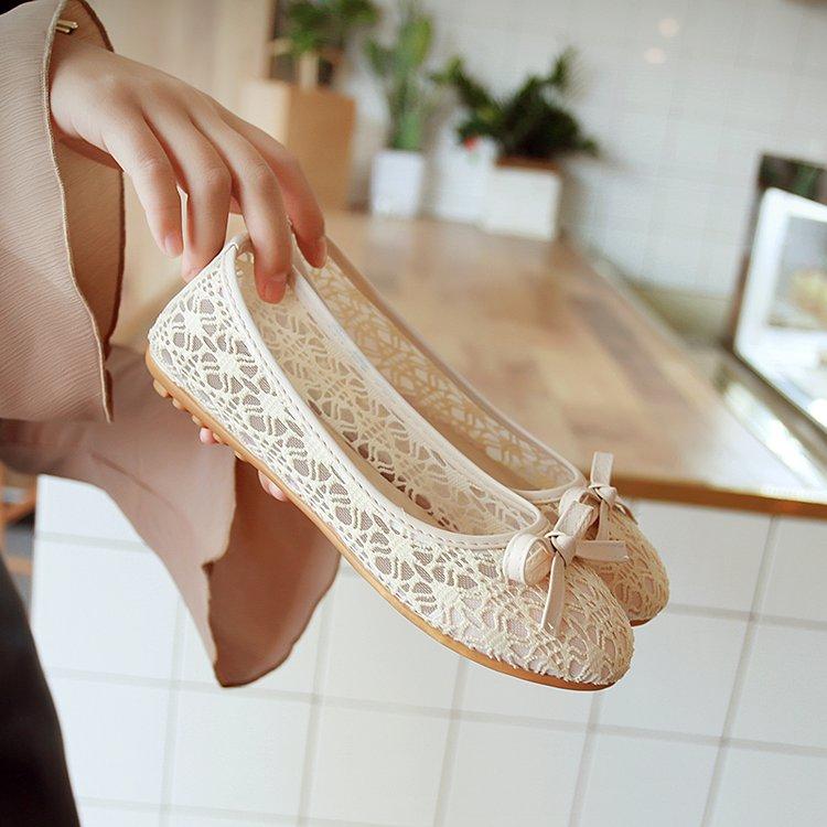 平底大码45蕾丝网面女鞋黑色工作鞋豆豆鞋芭蕾舞鞋布鞋孕妇单鞋女