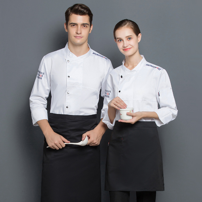 New hotel chef work clothes long sleeve uniform in autumn and winter Hotel nutritionist work clothes Western pastry baking clothes