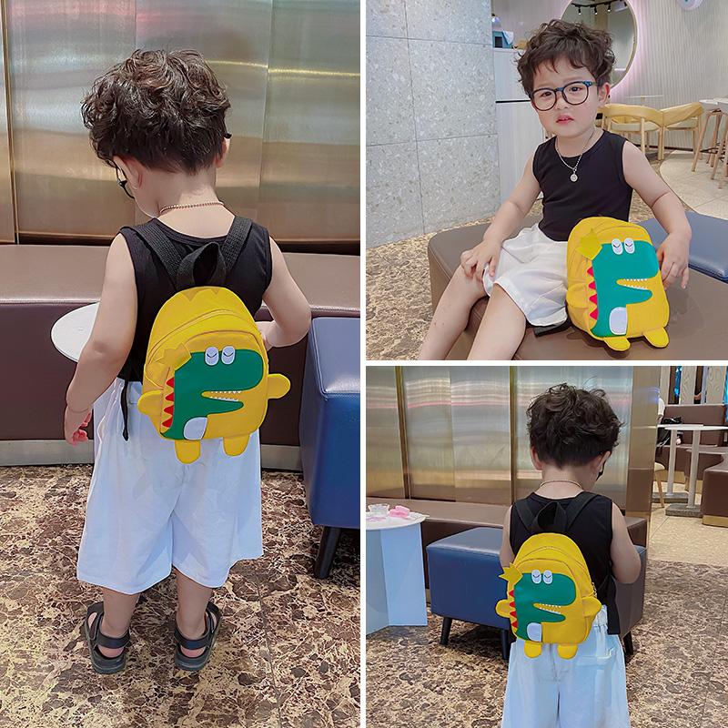儿童帆布双肩包女可爱卡通小恐龙幼儿园书包时尚迷你小童男童背包