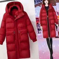 新款高端奢华过膝羽绒服女冬中长款2020年爆款大牌白鸭绒红色外套