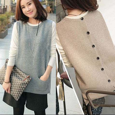 Waistcoat womens Korean back button loose Pullover Sweater cantilevered sleeveless sweater student wool knitted vest autumn