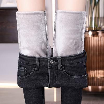加厚加绒牛仔裤女冬季2019新款高腰弹力紧身小脚长裤带绒外穿保暖