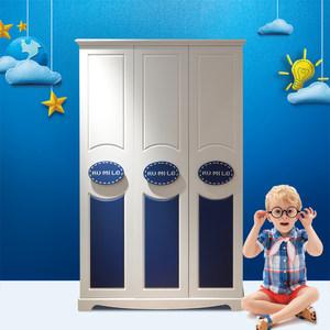 儿童衣柜男孩三门衣柜地中海2门4门储物衣柜卧室立柜学生衣橱蓝色