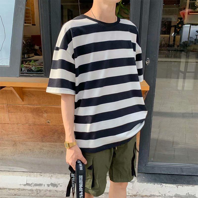 25.97元包邮网红条纹短袖潮牌夏季潮流港风t恤
