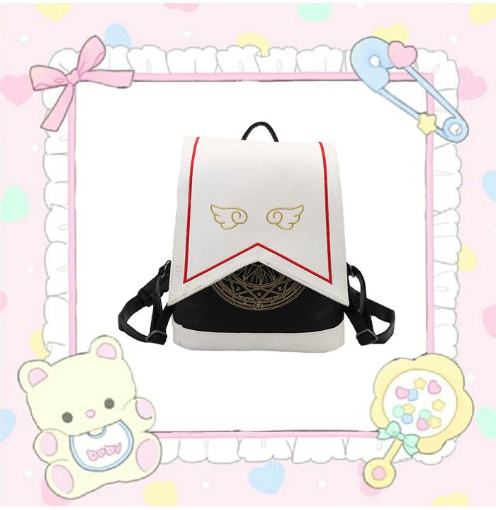 Beautiful girl warrior embroidered wings Sakura magic department two dimensional backpack anime cartoon backpack schoolbag