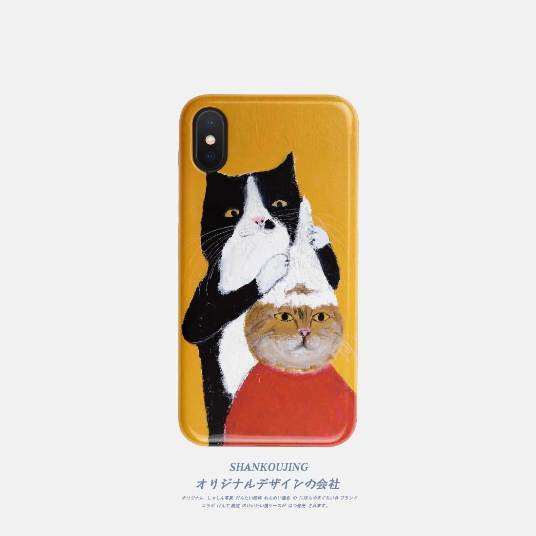 可爱猫咪少女心iphone xs手机壳max/7plus苹果6s硅胶8磨砂全包软
