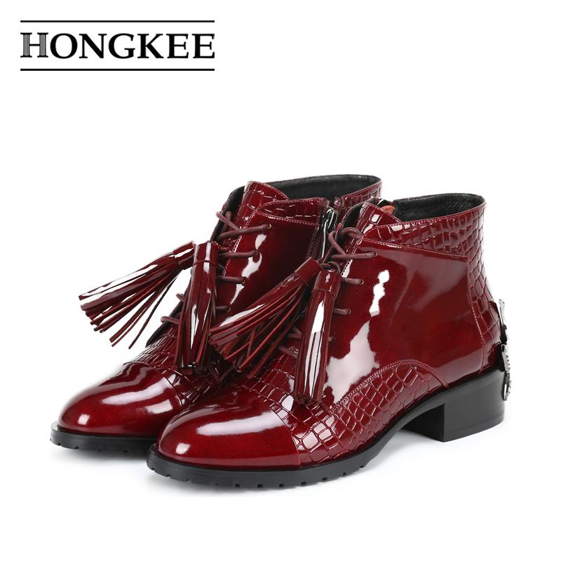 红科17年冬尖圆头PU流苏铁花仿石头纹短靴方跟绒里女靴 H897M412