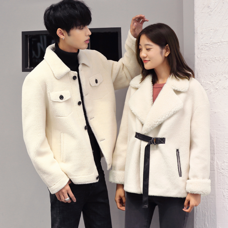Autumn and winter lovers granular cashmere sheep shearing coat wool fur one thickened warm fur coat short