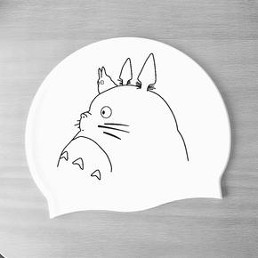 BY 包邮 清新柔软舒适成人男女硅胶泳帽可爱卡通龙猫白色加大