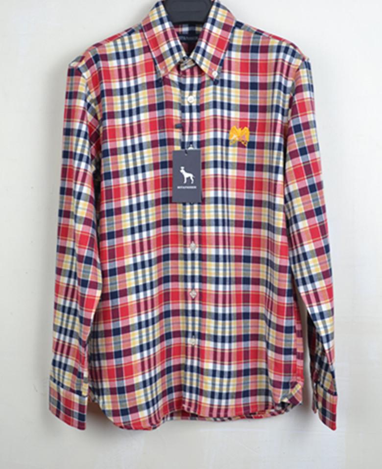 纯棉格子衬衫男长袖 男士 春季休闲衬衣磨毛修身男装衣服