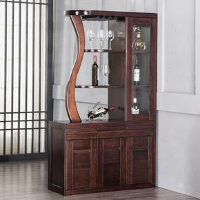 全实木隔断柜纯黑胡桃木进门间厅柜双面玄关屏风鞋柜中式客厅家具