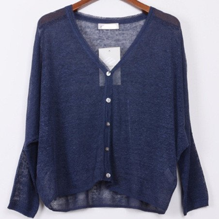 2017亚麻针织衫蝙蝠袖宽松短款长袖空调衫苎麻超薄款大码防晒开衫