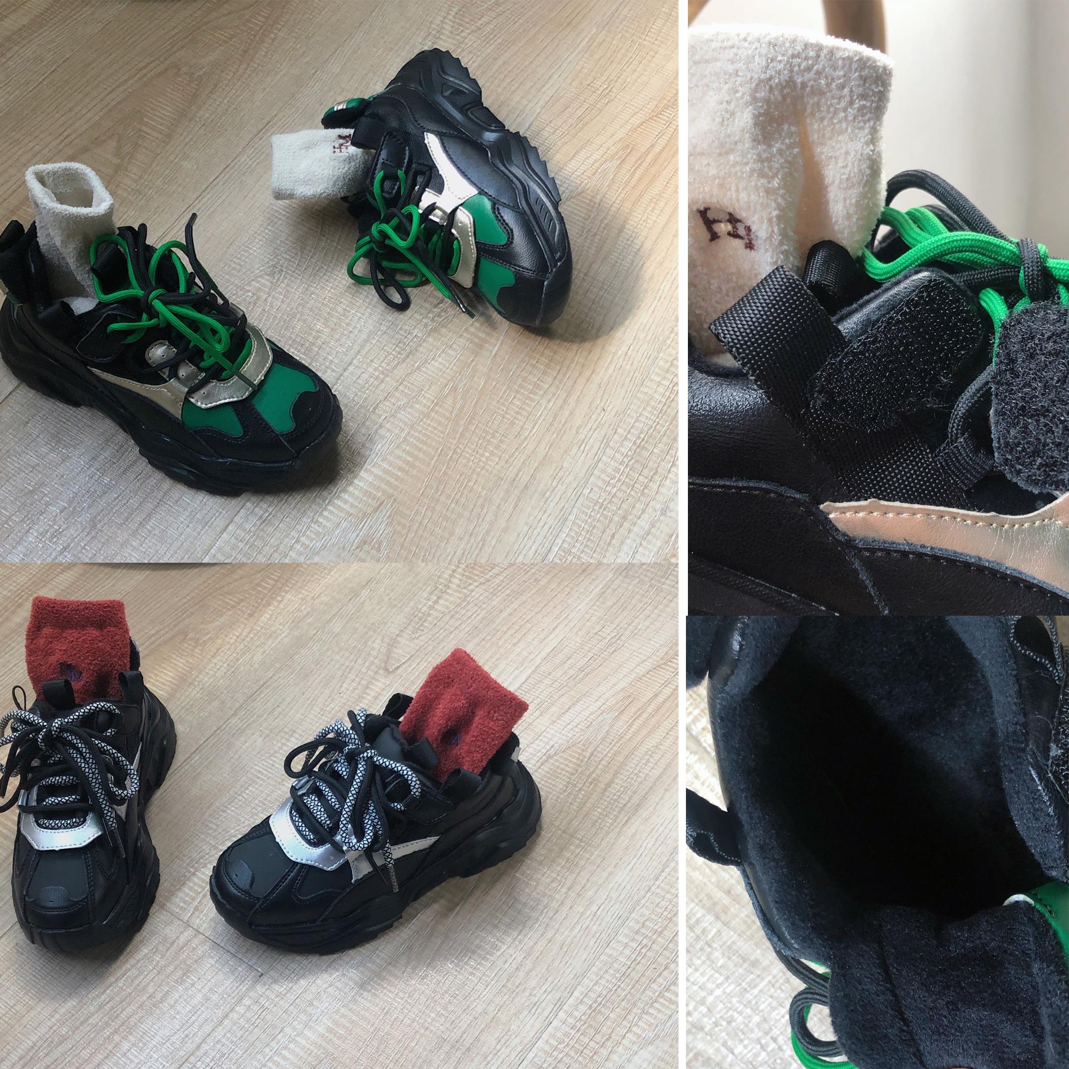 美妞 女童男童宝宝帅气拼色运动鞋 加绒 有魔术贴 鞋带是装饰