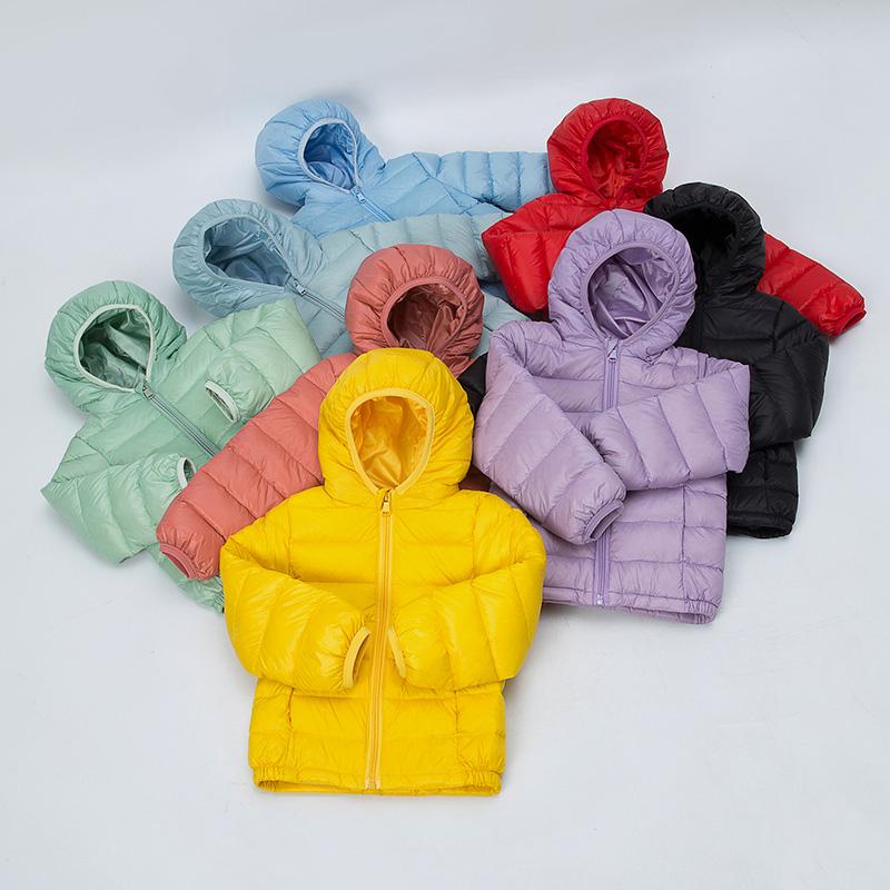 新款糖果色儿童羽绒服潮搭男童女童白鸭绒外套宝宝洋气连帽羽绒服