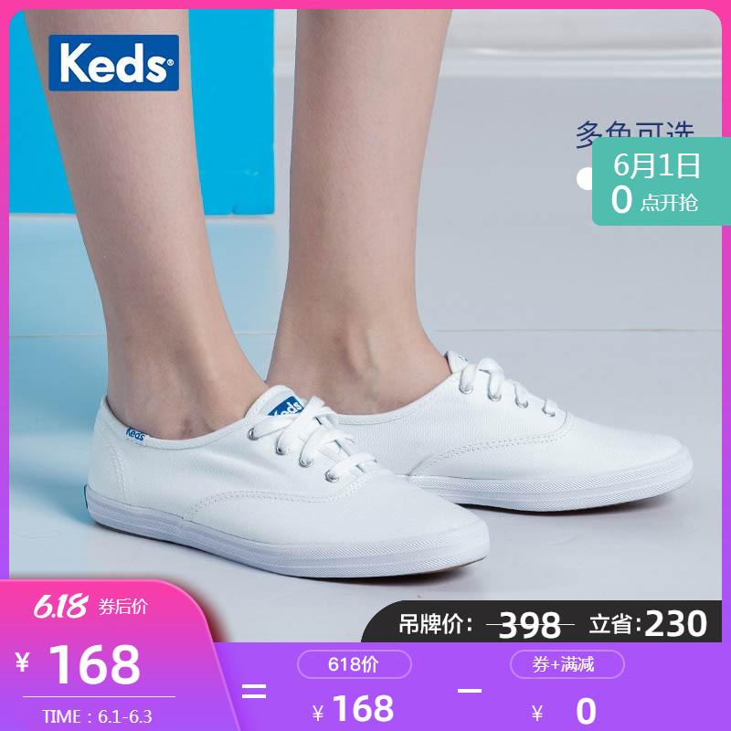 Keds冬女款毛毛鞋保暖复古加绒小白鞋棉鞋低帮休闲帆布鞋 WF57074图片