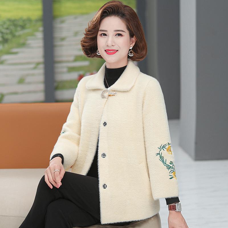 媽媽裝水貂絨重工刺繡中老年女裝秋裝加厚保暖外套洋氣闊太太冬裝