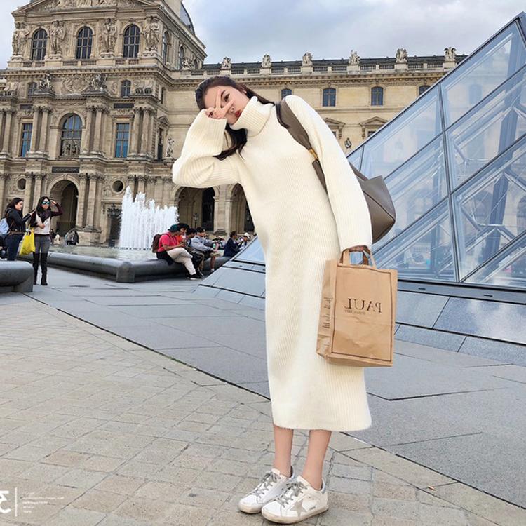 Осень и зима женщина 2017 новый маленький корейский свежий мягкий сестра длина высокий воротник свитер юбка вязание платье институт ветер