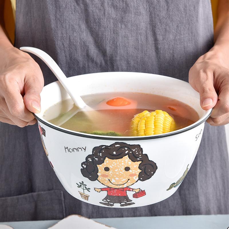 一家四囗汤碗 大号家用汤面碗水果沙拉碗可爱餐具汤盆8寸单个陶瓷28.90元包邮