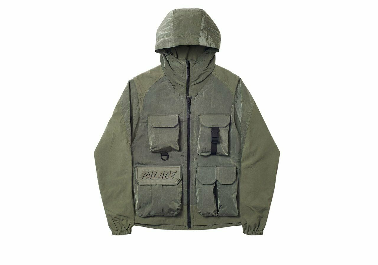 Wangchao Club palace flash vest detachable olive green Hooded Jacket zipper